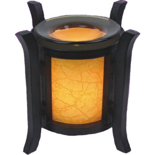 "Lantern Style Orange Electric Oil Warmer by Vista. $25.08. Stylish. Elegant. Orange cylinder with bronze tinted dish for the oil. Lantern style oil warmer measures 6.5"" tall, 6.25"" diameter. Orange cylinder with bronze tinted dish for the oil. Uses one 35 watt halogen bulb (included). Item Weight: 3 lbs"