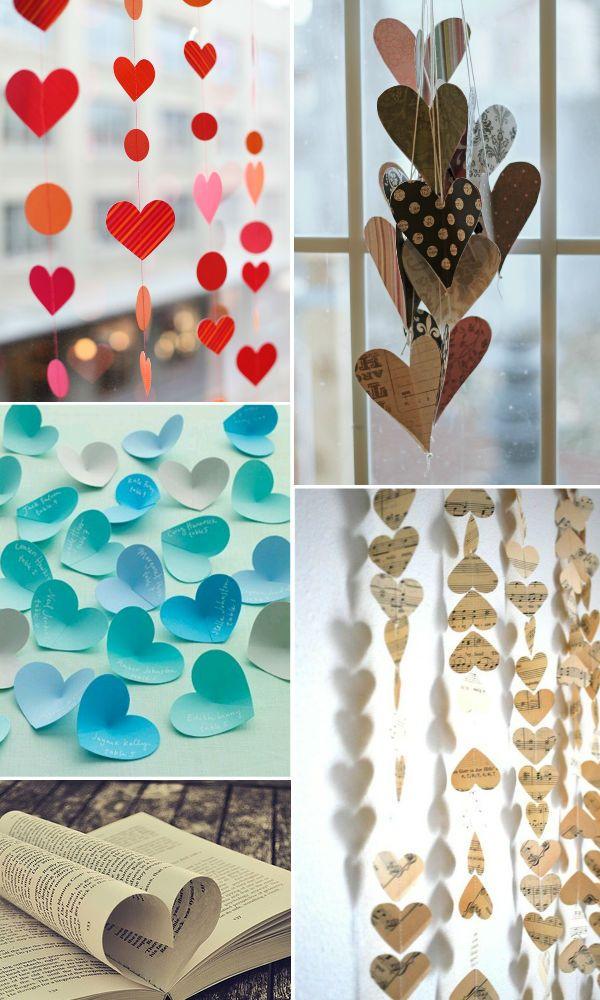 decorando com corações de papel