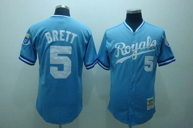 3708dbc4 ... Light Blue Cool Base Cooperstown Pullover Jersey George Brett Royals Jersey  Throwback Jerseys Pinterest Majestic Threads George Brett Kansas City ...