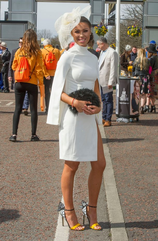 Mae Bamford, 21, from Maghull, wearing a House of CB dress at Ladies Day 2016