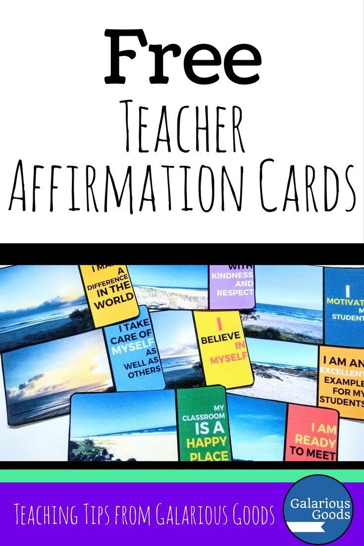 Free Teacher Affirmation Cards from Galarious Goods #teacherfreebie #backtoschool #teacherselfcare