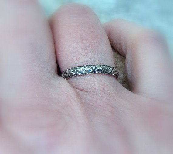 Thin Wedding Ring Silver Floral Wedding Band by SilverSmack, $30.00