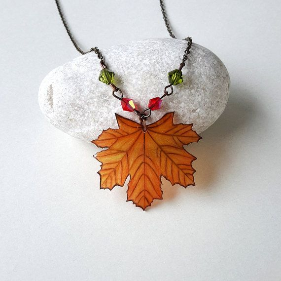 Autumn Leaf Jewelry Maple Leaf Necklace Maple by LavanitaDesign