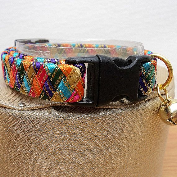 Designer Cat Collars with a Colourful Harlequin by TheGlamorousCat