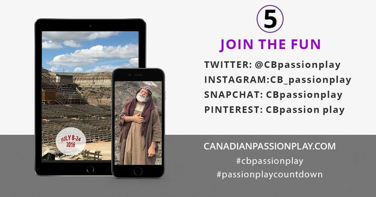 5 days left in our #passionplay countdown. We told some jokes and gave away some tickets on Facebook and asked people to join the fun here and well, up on those things there.