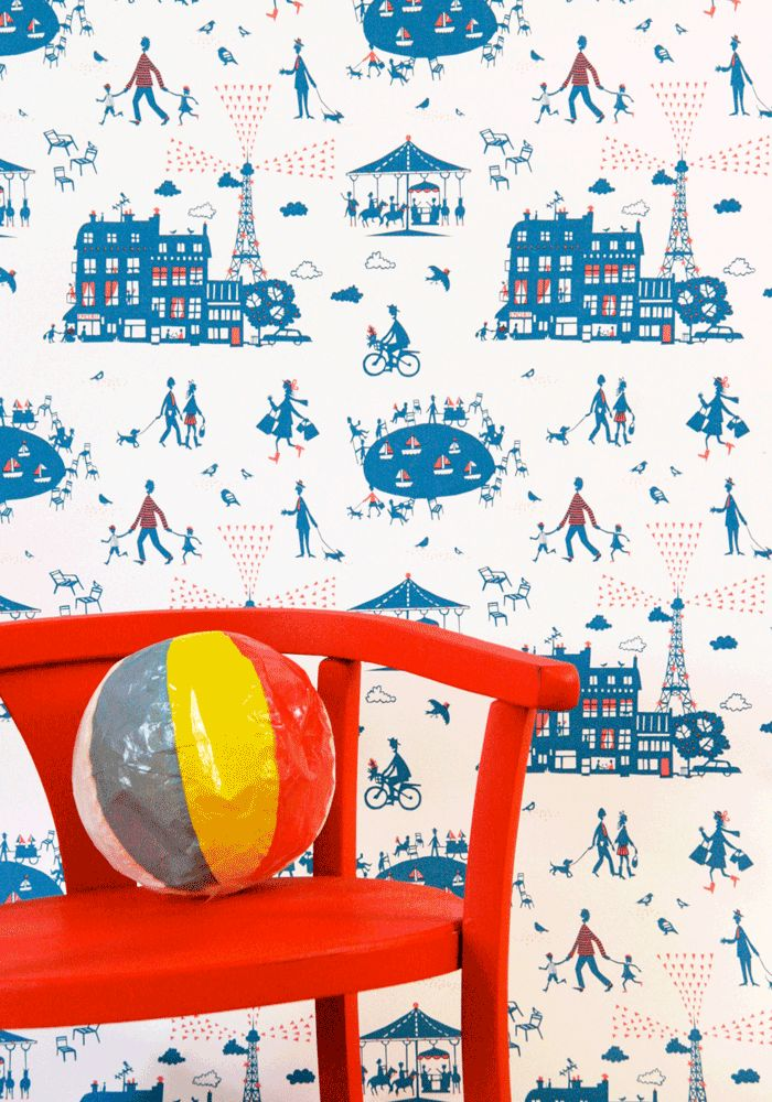 20% OFF Wallpaper Un Dimanche a Paris - Red/Blue by Famille Summerbelle — Bodie and Fou - Award-winning inspiring concept store