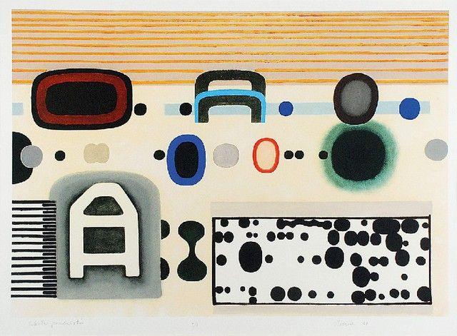 Jan TARASIN (1926-2009)  Szkoła przedmiotów, 2008 grafika, papier; 49,5 x 69 cm (wymiar kompozycji); sygn., dat. i opis u dołu ołówkiem: Szkoła przedmiotów, E/A Tarasin 08
