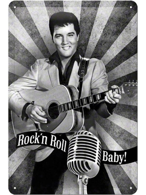 Mooie wanddecoratie met daarop een afbeelding van Elvis Presley met daaronder de tekst Rock n Roll Baby! Deze wanddecoratie is gemaakt van metaal en is ongeveer 20 x 30 cm.