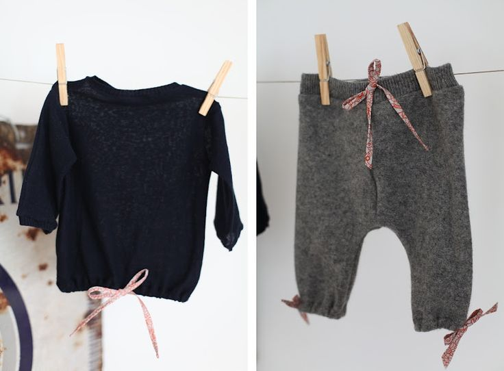 DIY baby clothes made with old cashmere sweaters r