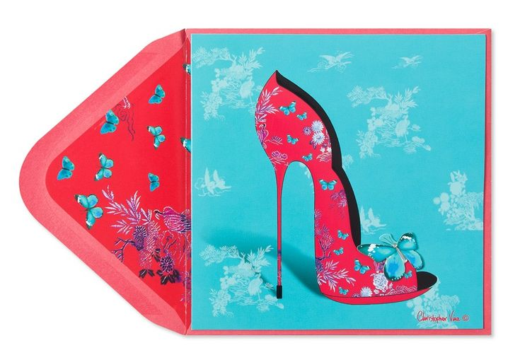 Papyrus greeting cards Shoe with Butterfly tip