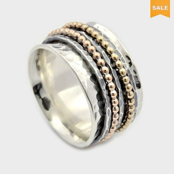 men woman worry ring Wide Wedding band everyday ring Textured silver band matching bands Flower spinner band Mixed metals Spinner ring