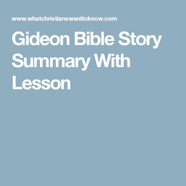 Gideon Bible Story Summary With Lesson