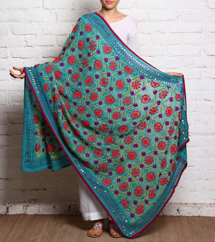 Sky Blue Phulkari Embroidered Chiffon Dupatta