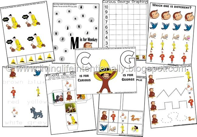 Use these FREE Curious George printables to teach early elementary and preschool concepts. They are cute, educational and fun!     Need m