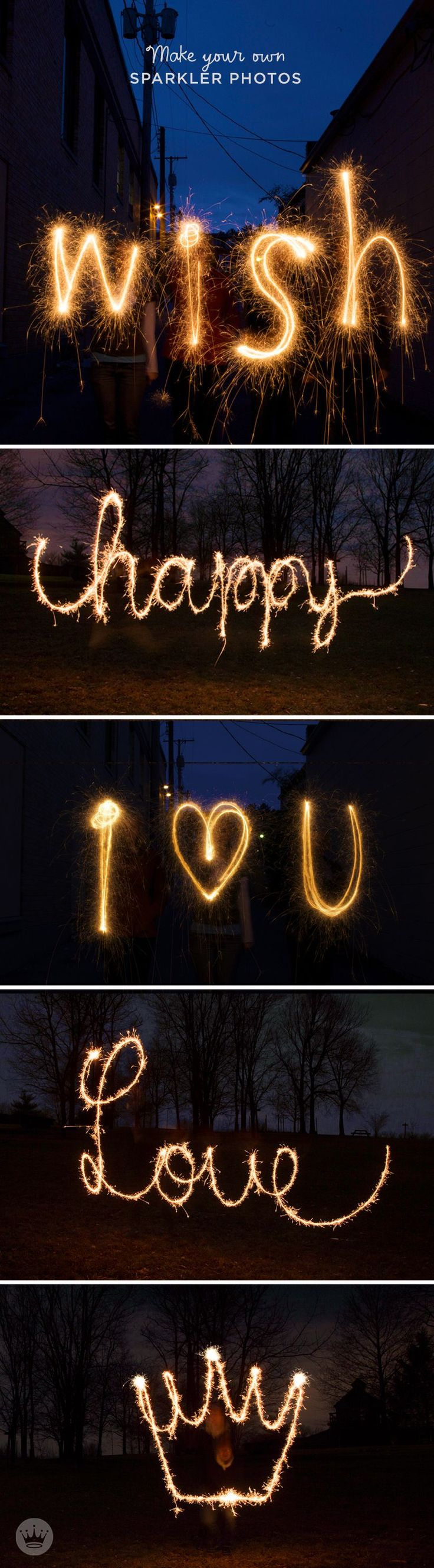 Sparkler Writing   Have some fun this Fourth of July with Sparkler Messages! Think.Make.Share, a blog from the Creative Studios at Hallmark, will teach you how to use your cameras to create memorable photographs as you write with sparklers! This is such a cool photo idea that can be used for all kinds of specials occasions—like engagements, weddings, baby announcements, and gender reveals!