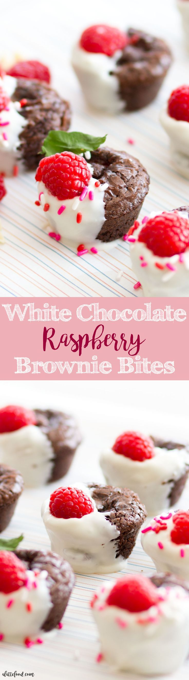 These easy white chocolate raspberry brownie bites are such a cute Valentine's Day dessert recipe! Raspberries are baked inside of the fudge brownies, and then dipped in white chocolate! A rich, decadent dessert that's super simple!: