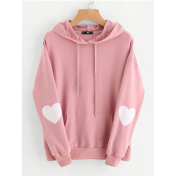 Drop Shoulder Heart Print Sleeve Pocket Front Hoodie ($27) ❤ liked on Polyvore featuring tops, hoodies, sweatshirt hoodies, long sleeve tops, sleeve hoodie, long hooded sweatshirt and long hoodie