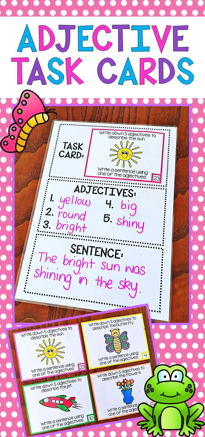These Adjective Task Cards provide students with the opportunity to brainstorm appropriate adjectives which could be used to describe an image. The activity also provides them with an opportunity to use the adjectives in a sentence context. There are 28 different cards altogether.
