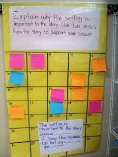 Re-create this for math. Each square contains a student name. Put a problem up that deals with the big idea of the lesson and students must write their response as an exit card and stick it to their name slot. Easy and quick formative assessment!