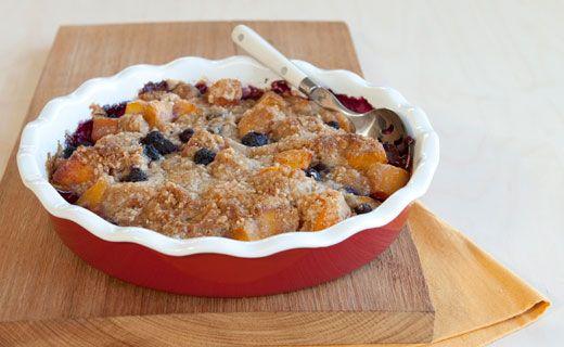 Epicure's Peach Blueberry Crumble Pie