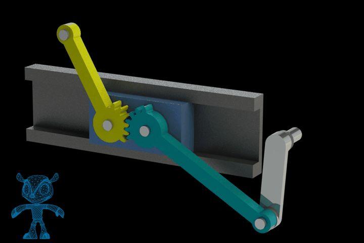 Reciprocating Gear Mechanism : Rod crank gear mechanism solidworks step iges stl