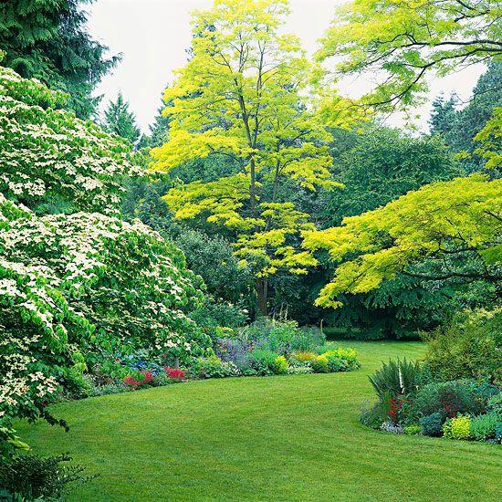Herrliche Garten Landschaft voller bunter Blumen - weiter machen