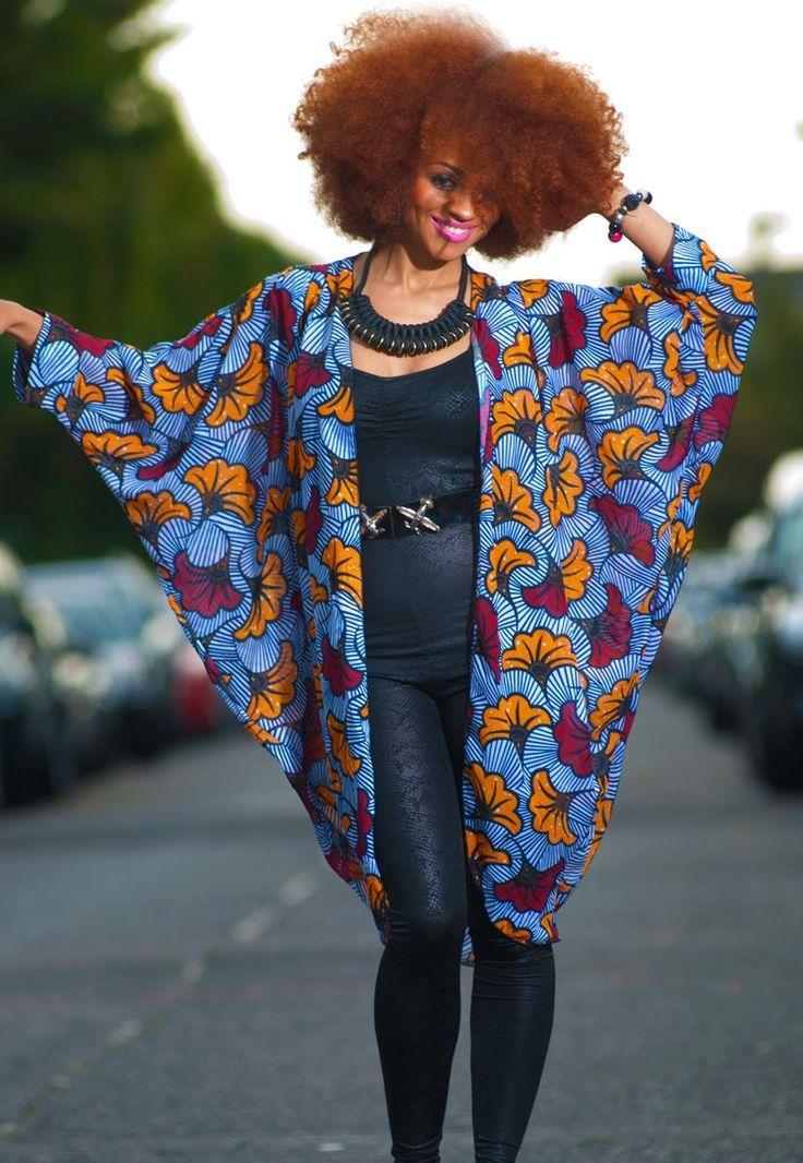 african print Shell-Flower-kimono Tóté: African Shell Flower Print Chiffon Kimono £30.00 zanjoo.com ~African fashion, Ankara, kitenge, African women dresses, African prints, African men's fashion, Nigerian style, Ghanaian fashion ~DKK