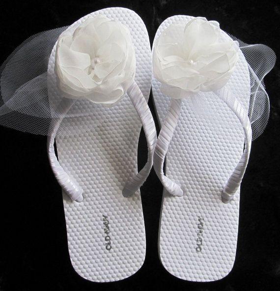 Bridal Flip Flops  White  Harlowe by PetalnPearlBoutique on Etsy, $34.95