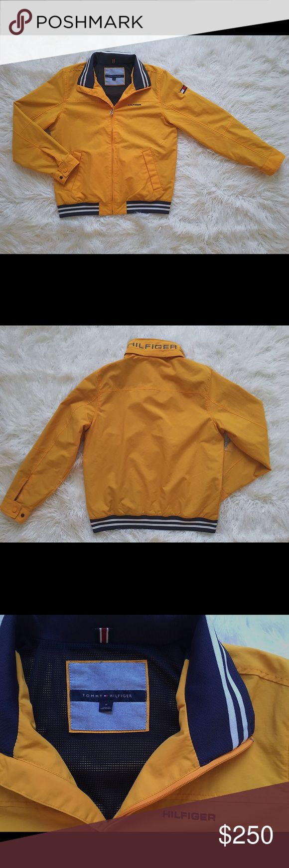 Tommy Hilfiger Yellow Yacht Jacket New in great condition. This is a mens medium. Last picture how it fits on a girl. Tommy Hilfiger Jackets & Coats