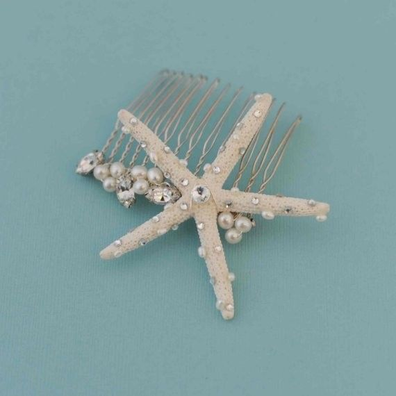 No veil for this mermaid. Starfish hair comb from Etsy all the way!