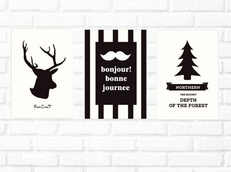 Scandinavian wall print/rein deer illustration/elk print set/Nordic wall/pine tree /wall mustach print set/Scandinavian poster set/bonjour by BeautyOfPrints on Etsy