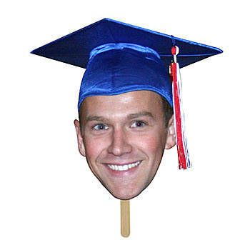 Our Graduation Fan Faces feature your grad's image printed on poster board and a wooden stick. Each face measures 11 inches high.