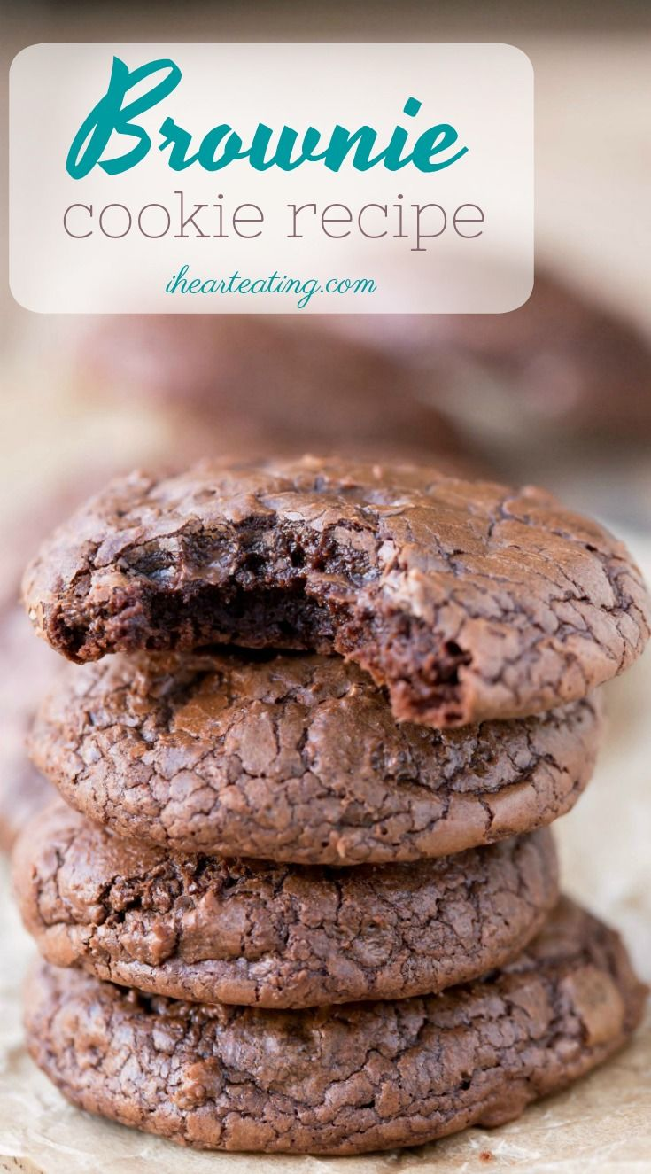 This brownie cookie recipe is all of the good parts of a brownie- crackly crust, fudgy middles, chewy edges, & intense chocolate flavor -in one little cookie! #brownie #brownies #cookie #recipe #easy #fast #homemade #scratch #best #chocolate #dessert #ihearteating