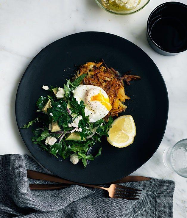 Pumpkin rösti with poached egg, and mint, feta and avocado salad recipe :: Gourmet Traveller