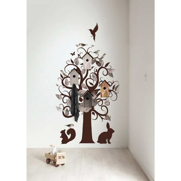 Kapstok muursticker Birdhouse Tree Taupe #walldecal #wallsticker #muursticker #tree #boom #birdhouse #vogelhuisje > www.marington.nl $156.00 / €119.95