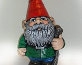 Ceramic LARGE Gnome - 21 inches - hand made, painted, lawn or garen