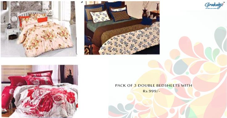 Buy pack of 3 double bedsheets with pillow covers online at Grahakji.com Shop Now #bedsheets #homefurnish