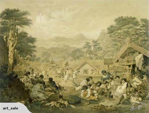Early Print of a Maori Village | Trade Me