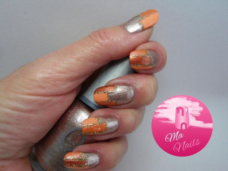 Rose Gold Colour Block Tipped Nails