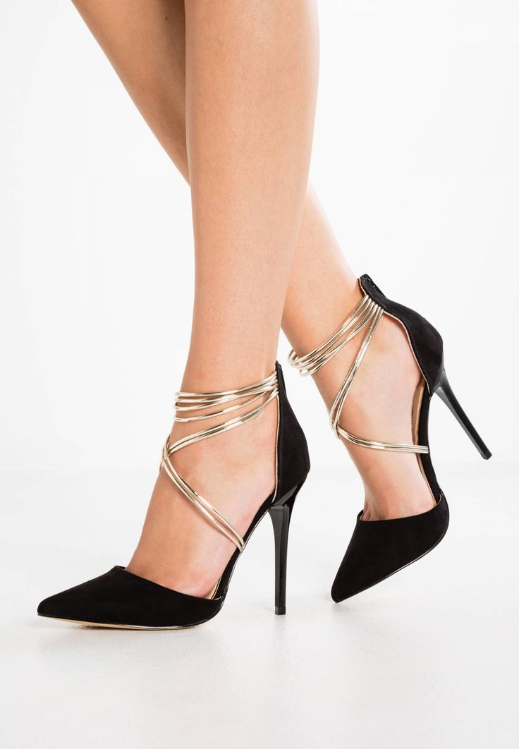 """Office. HIGH SOCIETY  - Classic heels - black/gold . Sole:synthetics. heel height:4.0 """" (Size 4). Padding type:Cold padding. Shoe tip:pointed. Heel type:stiletto. Lining:leather and imitation leather. shoe fastener:zip. upper material:imitation leath..."""