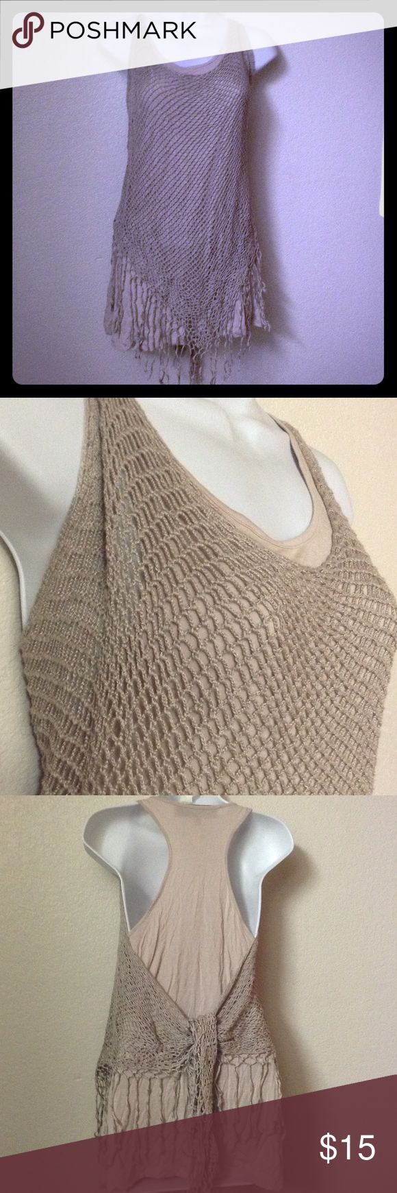 REMAIN Long Tank Top Crochet Fringe Knit Beige Beige Top stretch nice with a pair of jeans, can be worn on a nite out. Remain Tops Tank Tops