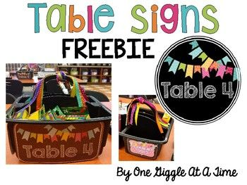These table signs are perfect for organizing and decorating your classroom! Included are: Signs to hang above the tables Signs to use to label table baskets and table crates