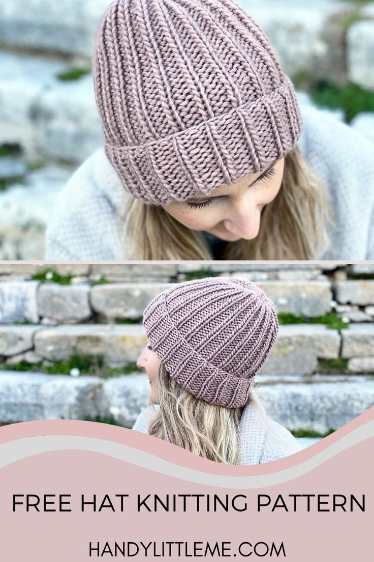 How To Knit A Hat With Straight Needles Knit Beanie Pattern Knitting Knitted Hats