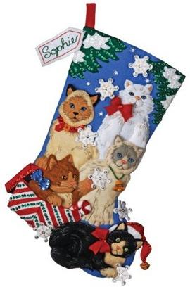 Bucilla Christmas Stocking Kit | Christmas  cat