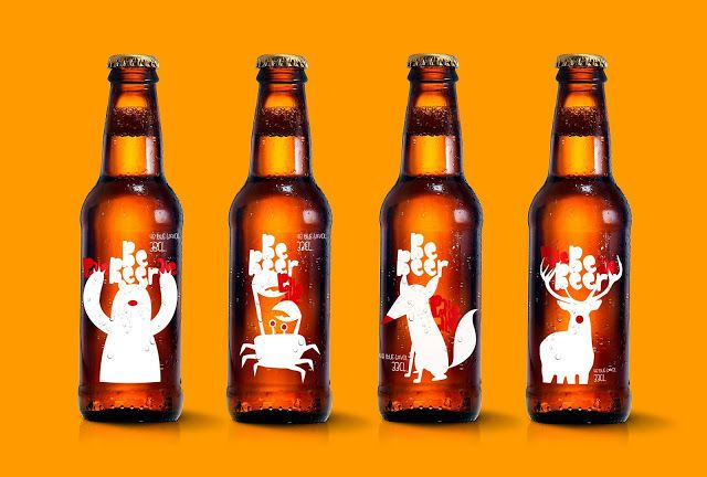 seasonal beer - These seasonal beer bottles designed by Coreti for a microbrewery were developed to represent different points of the year with a playful animal ch...