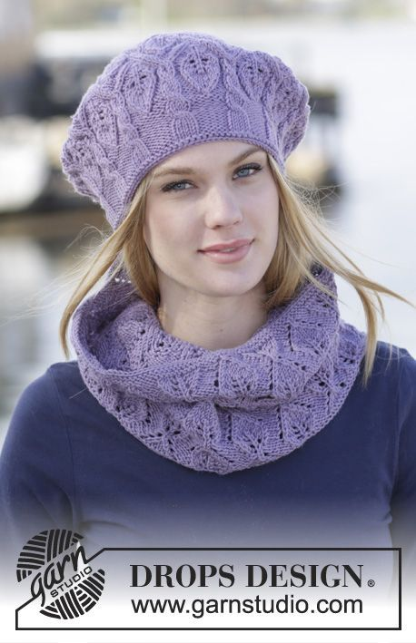 """Set consisting of hat with cables and leaf pattern and knitted neck warmer with leaf pattern in """"Merino Extra Fine"""" #DROPSDesign #knitting"""