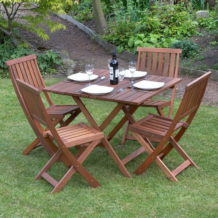 Wooden Garden Table And Chairs Part - 32: Five Piece Garden Dining Set / Victoriana
