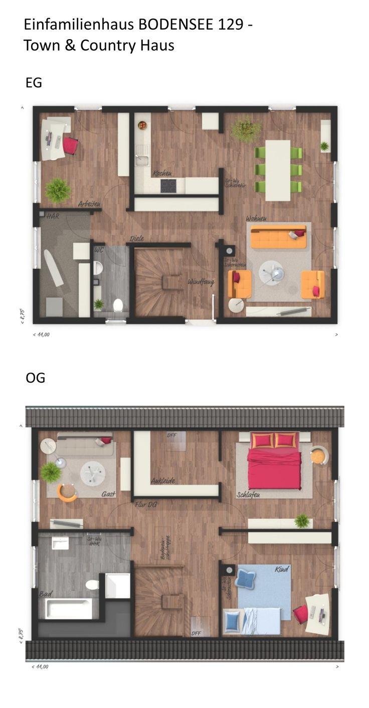 Einfamilienhaus Grundriss klassisch mit Satteldach Architektur – 5 Zimmer, 127 q…