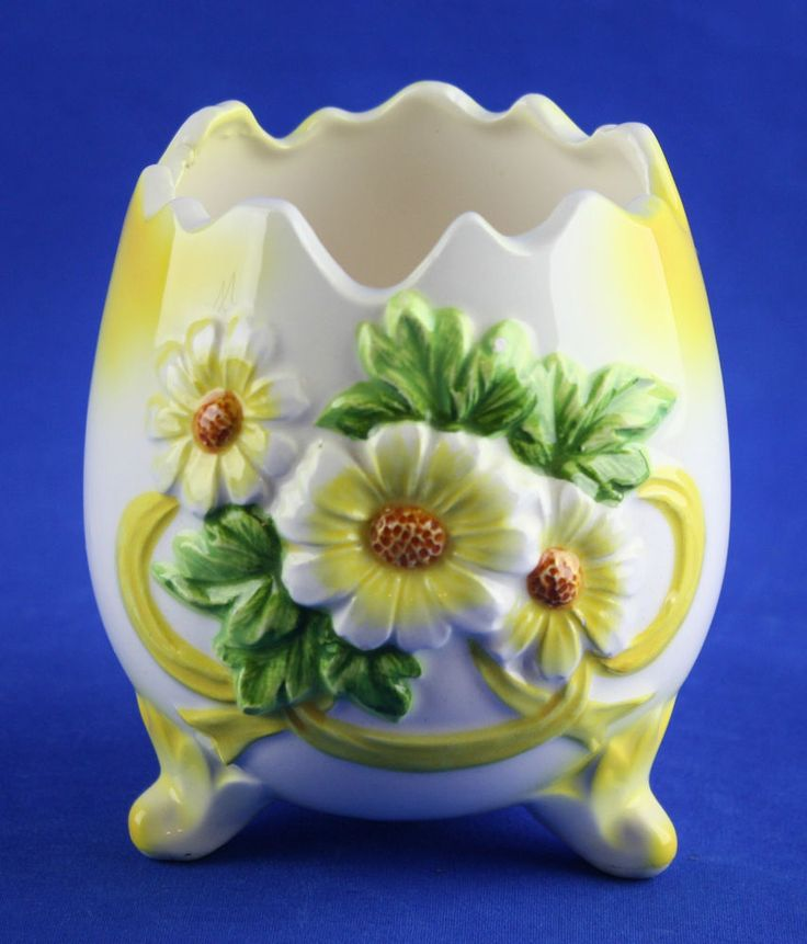 Vintage Inarco Cracked Egg Footed Vase Yellow White Daisies Japan On Pinterest Discover The