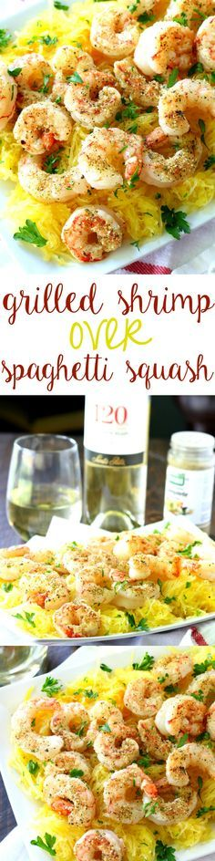 Fire up that grill! These crowd-pleasing grilled shrimp over spaghetti squash are light, easy and so delicious! #120DaysofSummer #ad